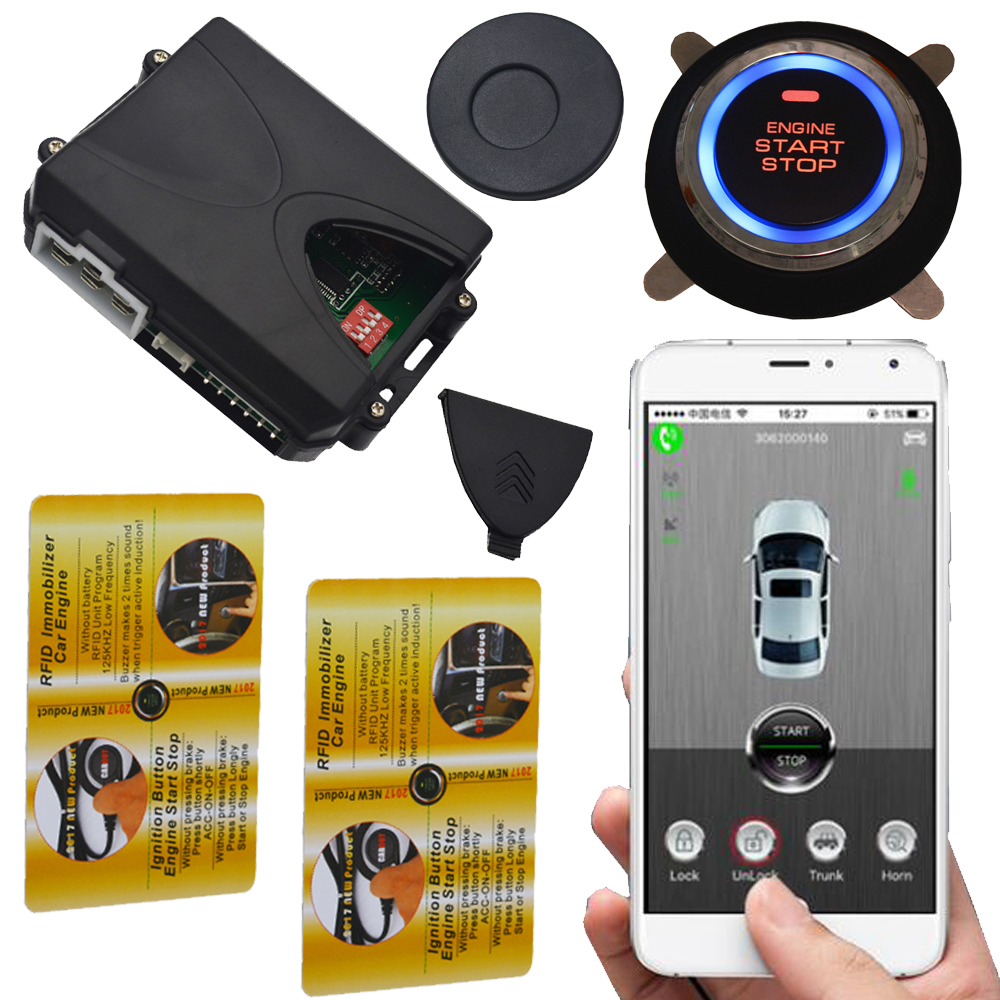 mobile phone app rfid gps car alarm with auto ignition start stop button working with remote central lock system push start stop easyguard pke car alarm system remote engine start stop shock sensor push button start stop window rise up automatically