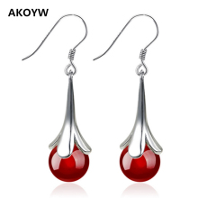 Silver plated ear hook black agate red flowers lovely ladies new fashion jewelry with high quality 8MM Agate earrings