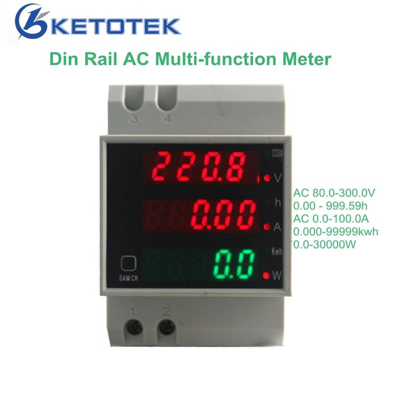 80 0-100.0A KetoteK Din Rail Digital Amperímetro AC-300 V Voltímetro Display Led Amp Volt Medidor De Potência De Energia Ativa medidor de Watt