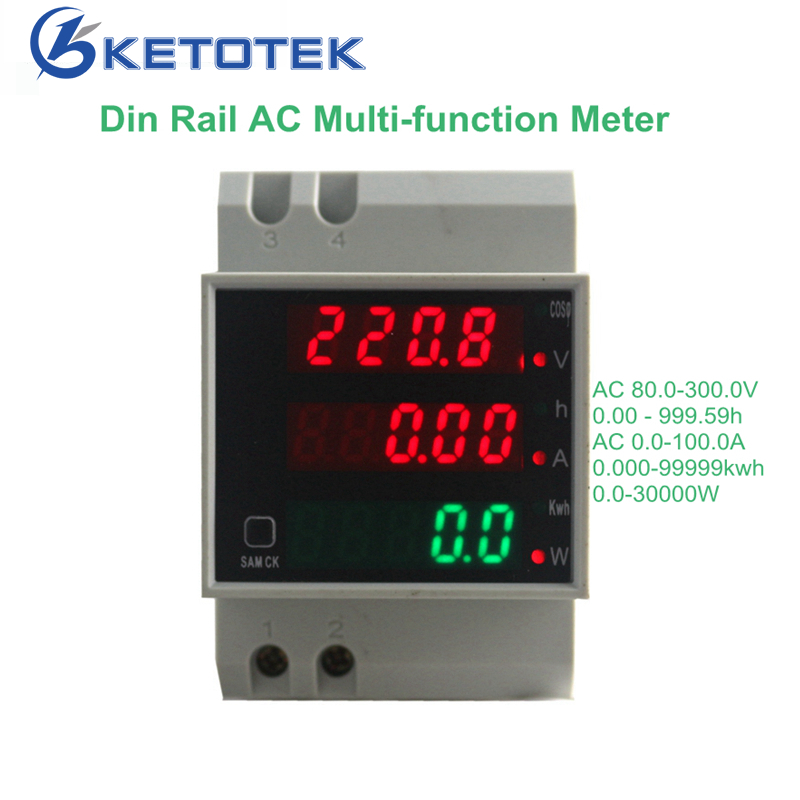 KetoteK Din Rail Digital 0-100.0A Ammeter AC 80-300V Voltmeter Led Display Amp Volt Energy Power Meter Active Watt Meter