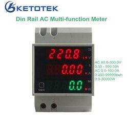 KetoteK din-рейку цифровой 0-100.0A амперметр переменного тока 80-300 В вольтметр светодиодный Дисплей Amp Вольт энергии Мощность метр Active ватт метр