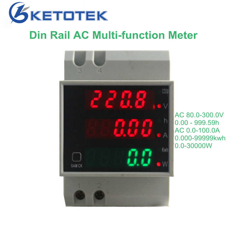 Ketotek DIN Rail Digital 0-100A Ammeter AC 80-300V 250V-450V Voltmeter LED Display Amp volt Energy Power Meter Aktif Watt Meter