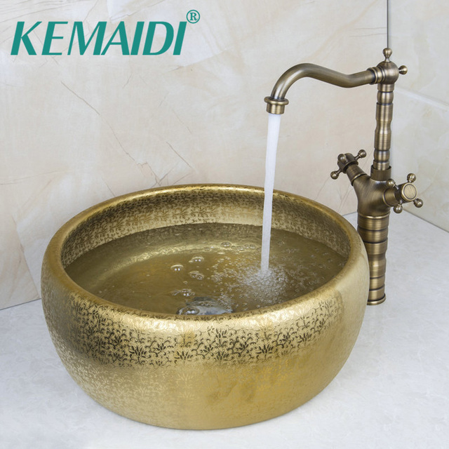 KEMAIDI Round Paint Golden Bowl Sinks / Vessel Basins With Washbasin  Ceramic Basin Sink U0026 Antique