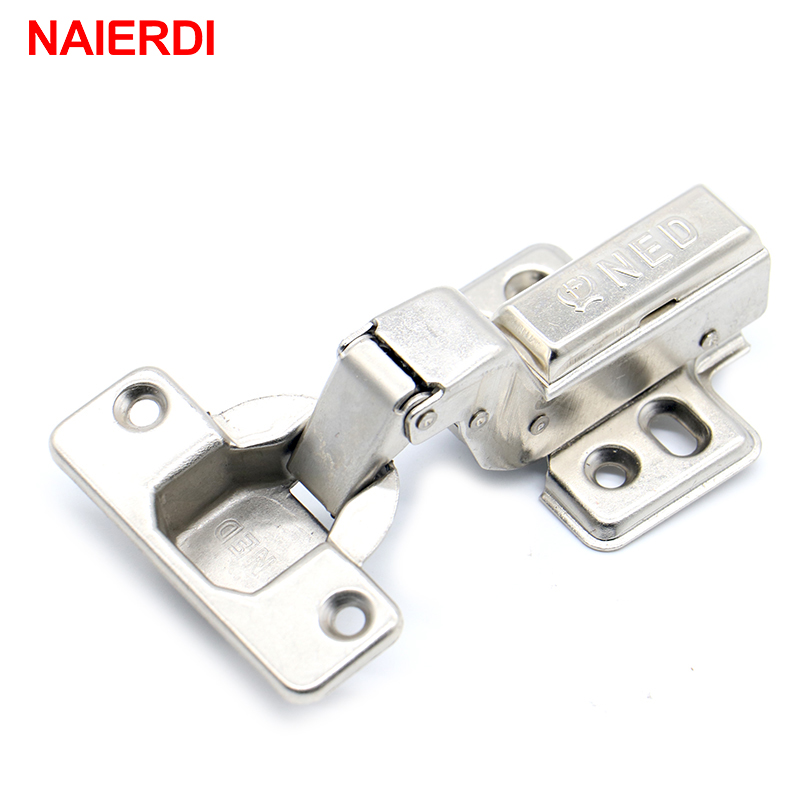 4PCS NAIERDI Hinge Rustless Iron Hydraulic Hinge Damper Buffer Cabinet Cupboard Door Hinges Soft Close For Furniture Hardware 2pcs 90 degree concealed hinges cabinet cupboard furniture hinges bridge shaped door hinge with screws diy hardware tools mayitr