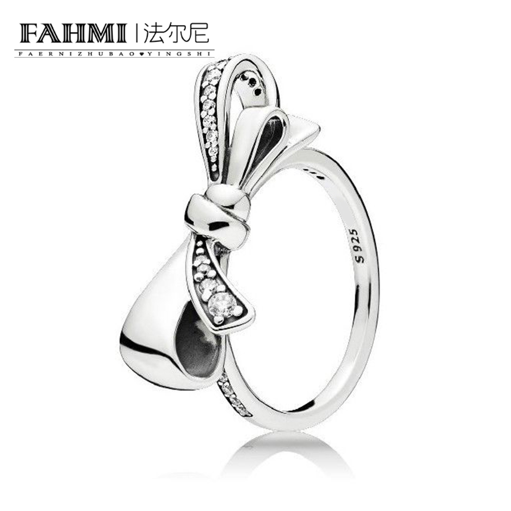 FAHMI 100% Sterling silver 1:1 Glamour Brilliant Bow Ring Original Women wedding Fashion Jewelry 2018 197232CZ FAHMI 100% Sterling silver 1:1 Glamour Brilliant Bow Ring Original Women wedding Fashion Jewelry 2018 197232CZ