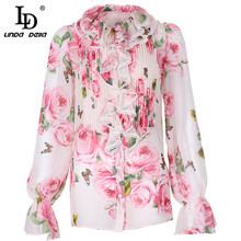 LD LINDA DELLA 100% Silk Blouse Summer Women's Long sleeve Ruffle Draped Rose Floral Print Shirt Elegant Top Female Blouses