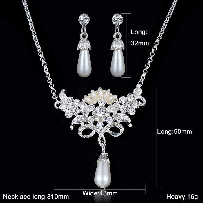 Crystal rhinestone wedding font b jewelry b font set for women pearl dangle earring necklace font