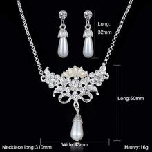 Crystal rhinestone wedding jewelry set for women pearl dangle earring necklace jewelry set imitation pearl pendant