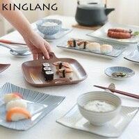 1 unid kinglang Bajo Vidriado de color retro de cerámica de estilo Japonés rectangular sushi Tempura cuadrado plato de pescado plato de sushi japonés