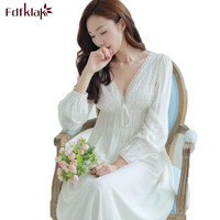Women Sexy Nightwear Long Nightgowns For Women Summer Dress 2017 Deep V Neck Ladies Night Gowns White Princess Nightgown E1224