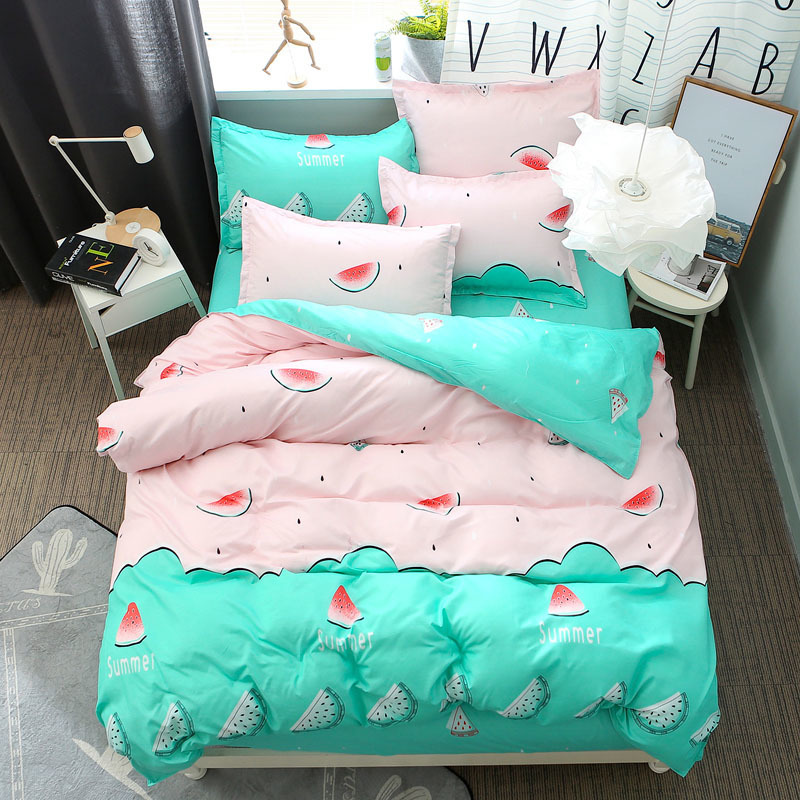 Watermelon Printed Home Textile Lattic 3/4pcs Bedding Set Bed Cover Bed Sheet Duvet Cover Pillowcase Bed Linen Bedclothes Queen