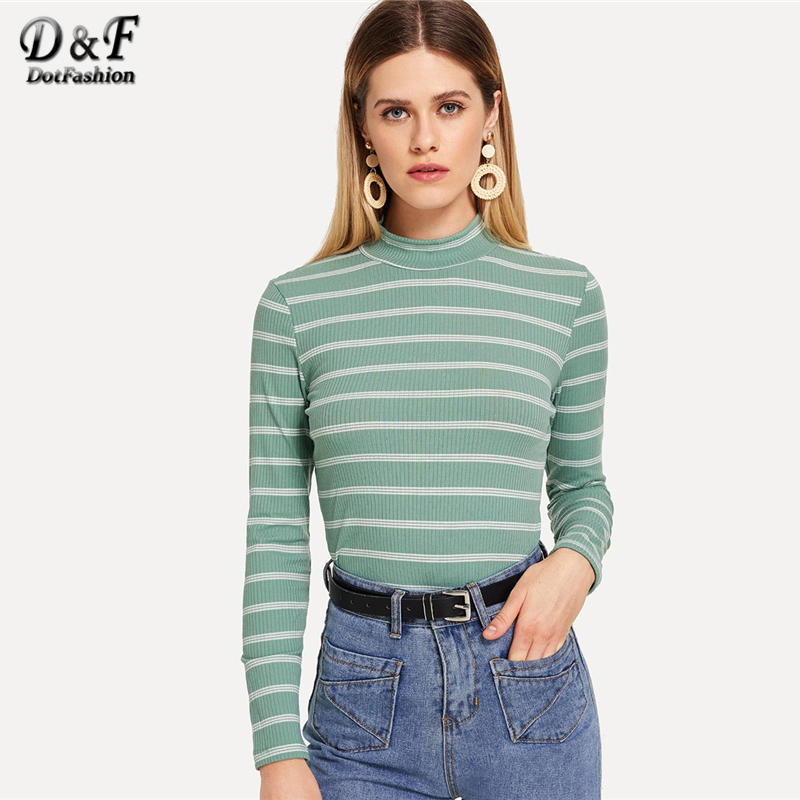 d0a810d5fef Dotfashion Green Striped Print Mock Long Sleeve Tee Shirt Women 2019 Casual  Tops Spring Autumn New