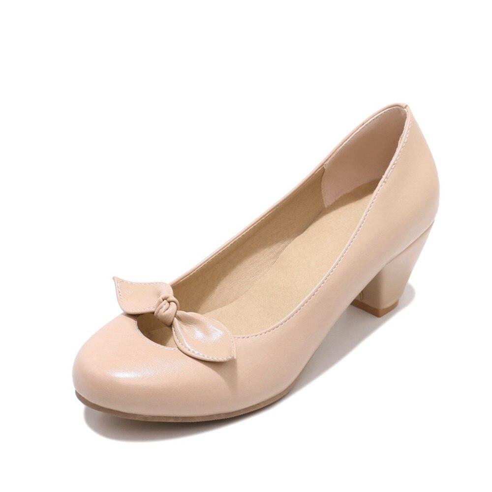 Beige Été Arrivent Peu Doux Bowknot Chaussures Profonde Vente Pompes noir Talons Femmes 2018 Printemps Rond Chaude Nouveau Memunia Casual brown Hauts Élégante Bout FRfwqf