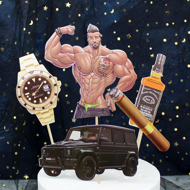 Surprising Pack Of 5 Muscle Man Car Cake Toppers Picks Cupcake Topper For Boy Personalised Birthday Cards Xaembasilily Jamesorg