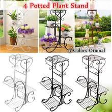 4 ярусная простая металлическая подставка для растений, держатель для полки для дома, помещения, улицы, офиса, декор для сада, балкона, цветочный горшок, стеллаж для хранения