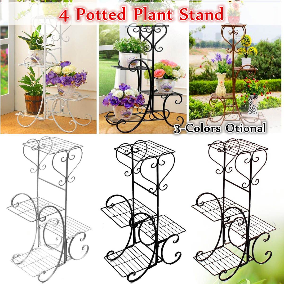 4 Tier Simple Metal Plant Stand Display Shelf Holder Home Indoor Outdoors Office Decor Garden Balcony Flower Pot Storage Rack