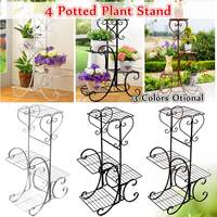 4 Tier Simple Metal Plant Stand Display Shelf Holder Home Indoor Outdoors Office Decor Garden Balcony Flower Pot Storage Rack