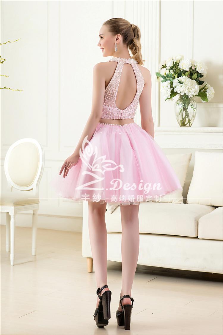 Caliente venta blanco rosa vestidos novia corto 2015 healter ...