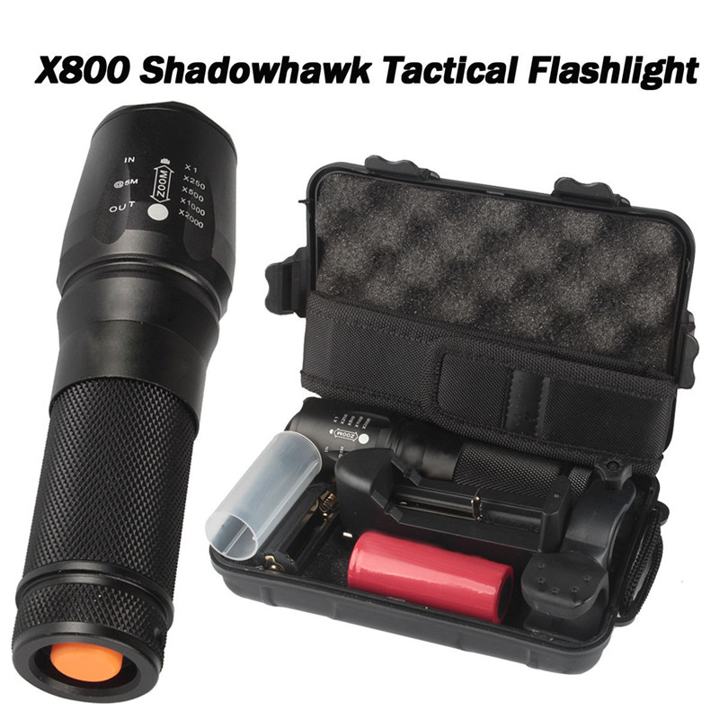 6000lm T6 X800 G700 Genuine Shadow Hawk Tactical Flashlight LED Zoom Torch 5Modes Super Bright Durable Lamp Bicycle Light|bicycle light|lamp bicycle|led lamp bicycle light - title=
