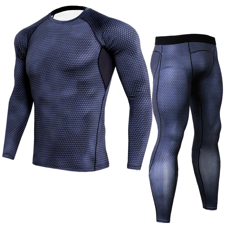 3D Print Long Sleeved Leggings Tights Mens Long Sleeved Sportswear Lightning Fitness Clothes Male Long Sleeved Suit