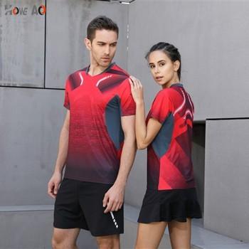HOWE AO wysokiej jakości Sexy Red Running Sport szybkie pranie oddychająca koszula Badminton kobiety lub mężczyźni stół trening tenis t-shirty tanie i dobre opinie Włókno bambusowe Krótki YQX YY1025 Koszule Pasuje prawda na wymiar weź swój normalny rozmiar