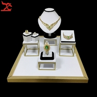 Stainless Steel Jewelry Display Showcase Black White PU Ring Earring Organizer Necklace Bust Bracelet Holder Stand 52*38*25cm