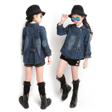 Spring Autumn Double Breasted Denim Jacket For Girls Campera