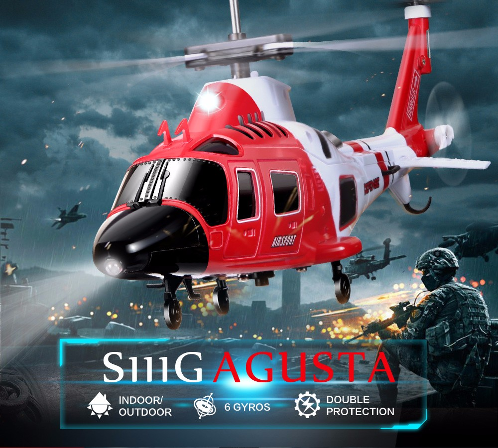 Hot Sale 100 Original SYMA S111G 3 5CH RC marines helicopter with Gyro Shatterproof LED