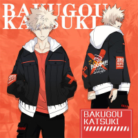 Anime My Hero Academia Bakugou Katsuki Cosplay Costumes Women Men Cotton Hoodies Splice Sleeve Zipper Sweatshirts Coat New 2019