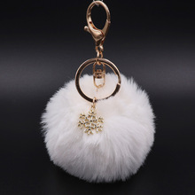 0074debe13 Big Snowflake Pendant Faux Rabbit Fur Ball Keychain Handbag Ring Plush  PomPom Key Chain Ornament Pom