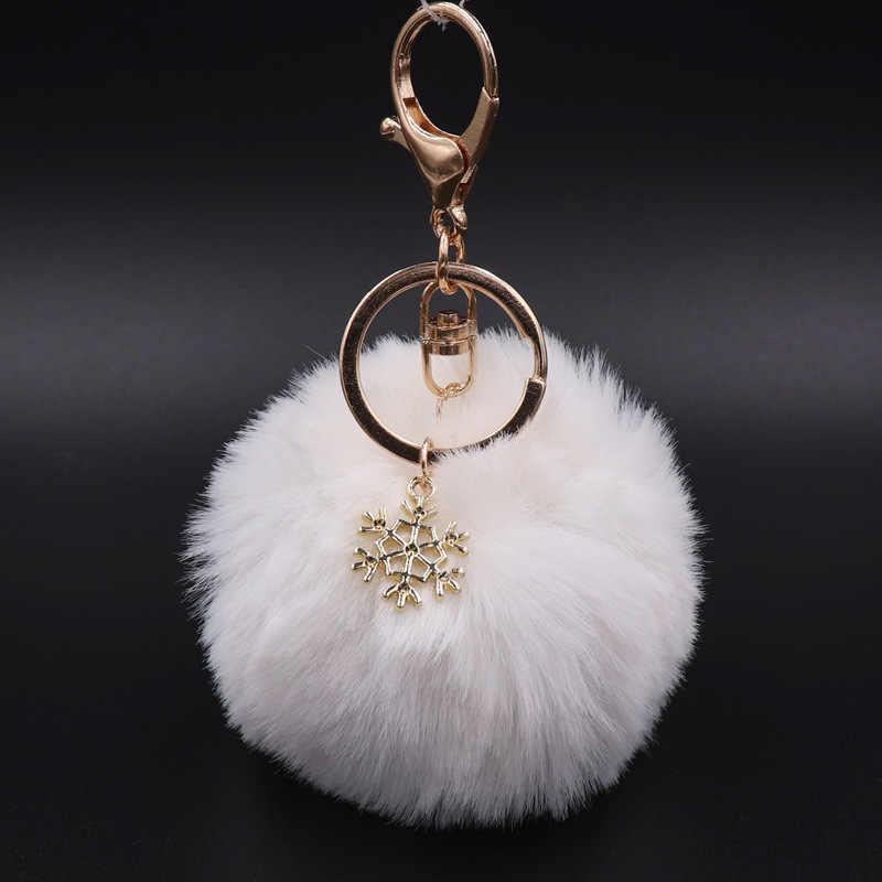 Grande pingente de floco de neve do falso coelho bola chaveiro bolsa anel de pelúcia pompom chaveiro chaveiro pompom pom charme bonito