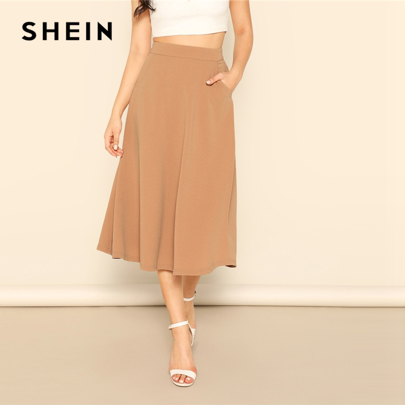 SHEIN Camel Pocket Side High Waist Plain Flared A Line Zipper Skirt Womens 2019 Spring Elegant Casual Streetwear Midi Skirt