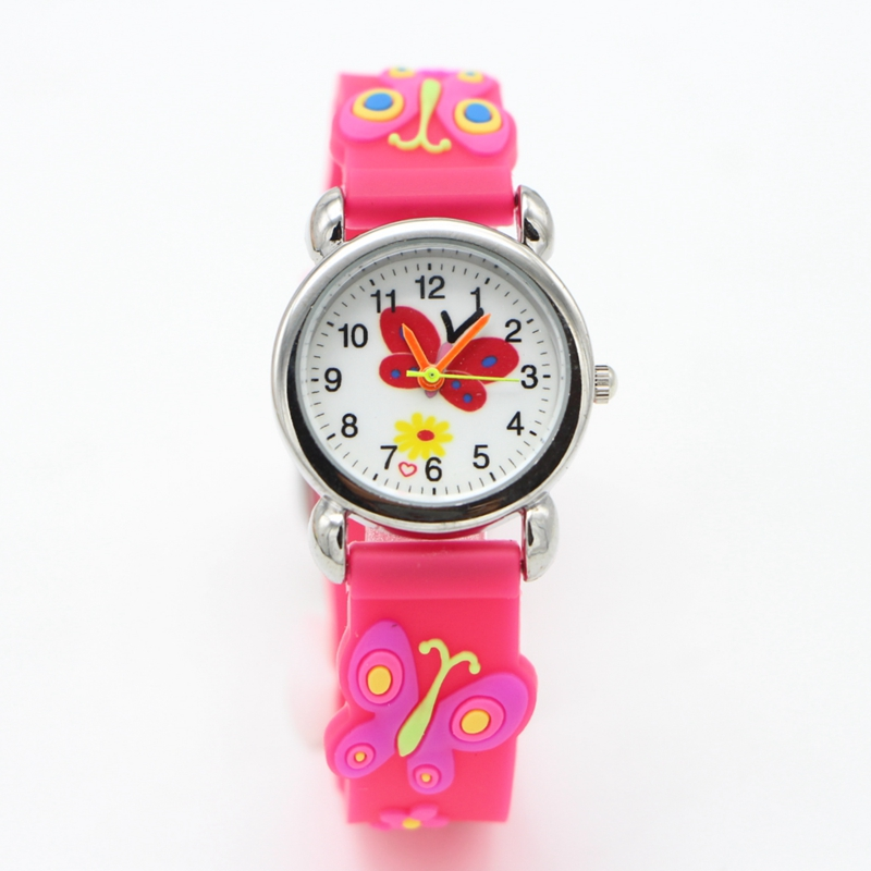 New 3D Cartoon Butterfly Design Analog Children Kids Watch Girls Boys Students Fashion Gift Quartz Watches Wristwatches Relogio