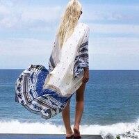 Women Chiffon Printed Cardigan Beach Cover Up Tops 2017 Sexy Swimwear Women Beach Bikini Swimsuit Wrap