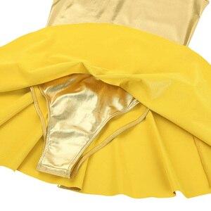 Image 5 - Women Cheerleader Costume Cheerleading Ballet Dress Shiny Metallic Faux Leather Dress Stand Collar Back Zippered A line Dress