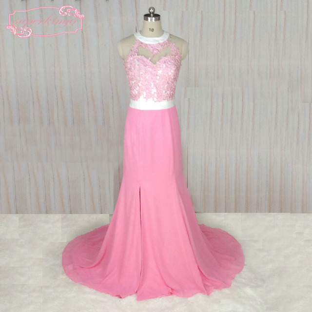 SuperKimJo O Neck Pink Prom Dresses Long Chiffon Lace Applique A ...