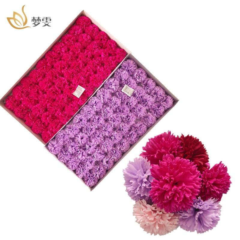 50Pcs/Box Artificial Carnation Flower Head Handmade Soap Home Decoration Creative Women'S Day Gift Carnations Petal Soap Flower