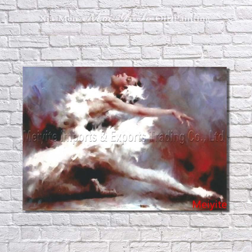 Livraison gratuite de haute qualité 100% à la main sans cadre peinture à l'huile sur toile photos murales pour salon décor danse fille photos