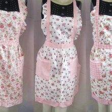Venta al por mayor de delantal de cocina de algodón con estampado de flores Estilo Vintage para mujer