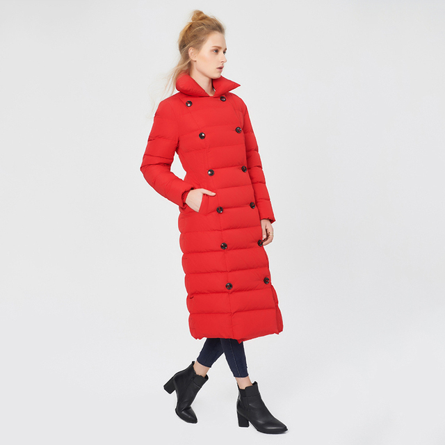 Cheap Long Solid Slim Thick Coat Double Breasted Button Pockets Winter Jacket Women Parkas Snow Warm Female Clothing 2016 New Arrival