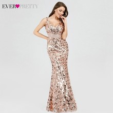 Sparkle Gorgeous Evening Dresses Long Ever Pretty V-Neck Mermaid EP07872 Sexy Sequined Elegant Evening Gowns 2019 Robe De Soiree