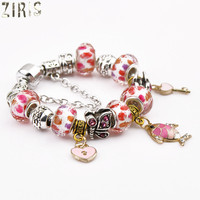 ZIRIS Year after year have fish diy macroporous beads exquisite bracelet women glass luxury jewelry charm beads bracelet