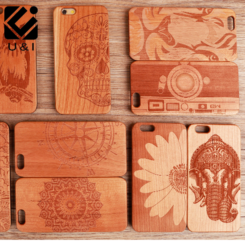 U&I Original Engraving Cherry Wood phone Case for iPhone 8 8plus 5 5S SE 6 6S 7 6PLUS 7PLUS AZTEC Cover Fundas Flower Elephant