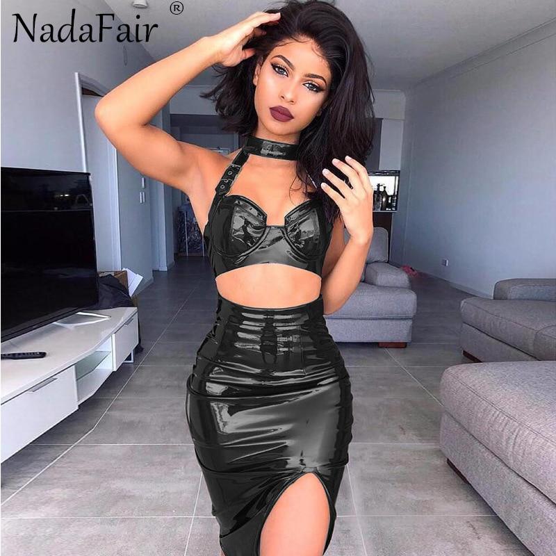 Buy Nadafair  Women Summer Two-piece Set Split Halter Pu Sexy Bodycon Club Dress 2018 Summer Faux Leather Midi Party Dress