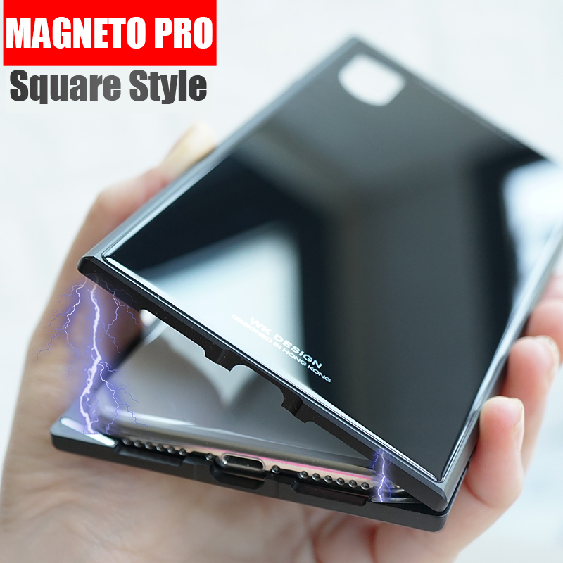 Magneto pro Square Magnetic attraction case for iphone X case luxury metal bumper+tempered glass back cover for iphone 7 8 plus
