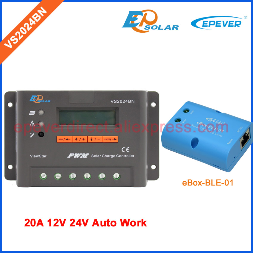 Bluetooth VS2024BN 20A 20amp EPEVER Solar battery regulator EPSolar controller eBOX-BLE-01 Android system use tracer5206bp solar regulator for 12v 260w 24v 520w solar panel system lithium battery charging use 20a 20amp epever