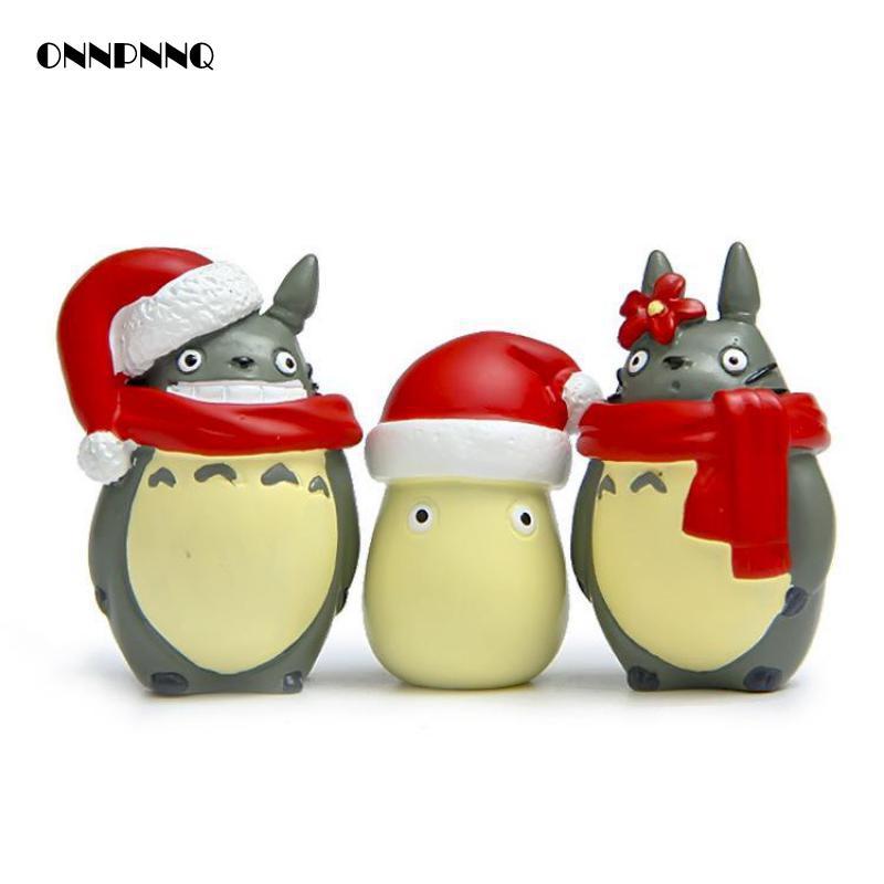 かわいい樹脂トトロクリスマス版愛好家スカーフミニチュア人形クリスマスギフト人形キッズギフト小像の装飾