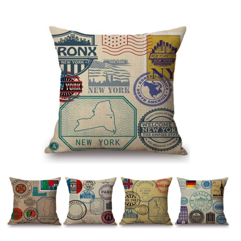 Kissenhülle Kissenbezug Motivkissen Baumwolle Briefmarken 40 x 40 cm