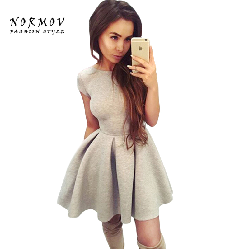 NORMOV Sexy Women O-Neck Backless Straps Slim Polyester Dress Mini Office Lady Large Size Robe Dresses Vestidos De Festa Women