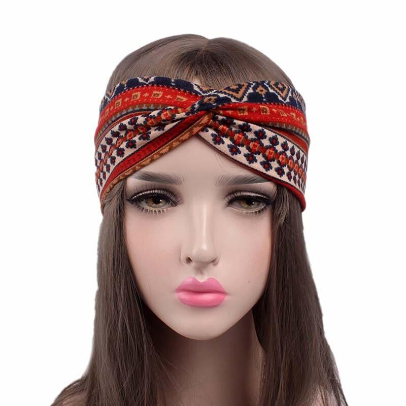 2019 new European boho style crossing hair bands women hair accessories Yoga sports Ethnic elastic plaid